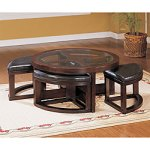 Capria Round Cocktail Table- $431.00 from Overstock.com- This coffee table comes complete with four ottomans.  This style is perfect for apartment and smaller living spaces.