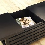 This coffee table slides open to reveal enough storage for all those things you'd like to keep handy, but tucked out of sight. There are additional shelves on the side, perfectly sized to keep coasters, remotes or favorite reading materials handy.