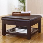 Maxwell Leather Storage Ottoman With Drawer- $189.00 from Cost Plus- This is the ideal combination of comfort, beauty and utility.